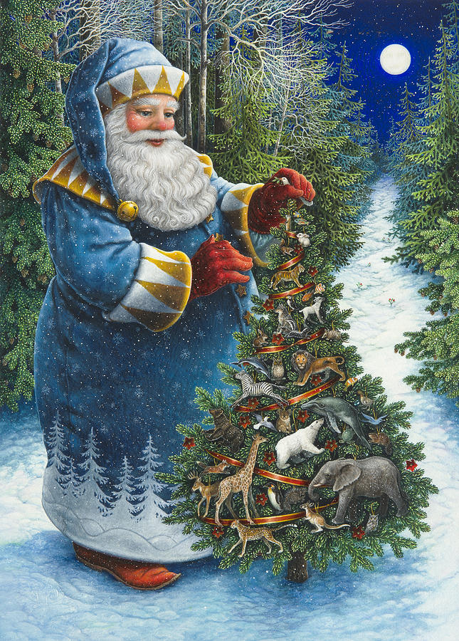 Santa 39 s christmas tree painting by lynn bywaters for Christmas images paintings