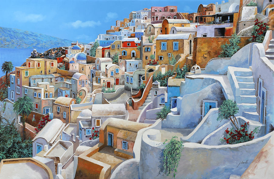 Santorini A Colori Painting By Guido Borelli