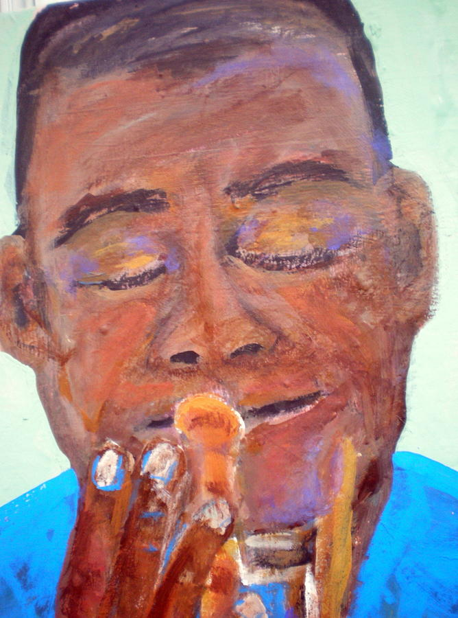 Satchmo In Blue Too Painting