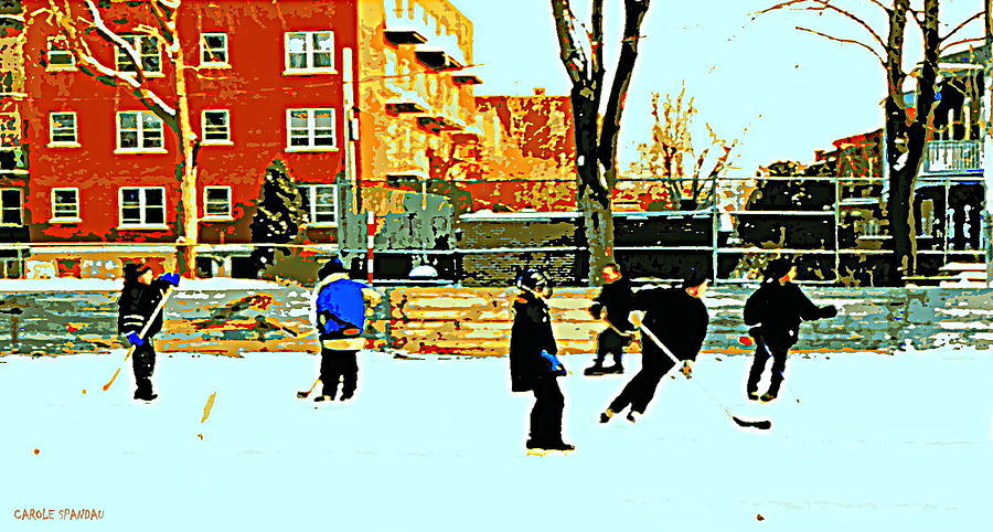 Saturday Afternoon Hockey Practice At The Neighborhood Rink Montreal Winter City Scene Painting  - Saturday Afternoon Hockey Practice At The Neighborhood Rink Montreal Winter City Scene Fine Art Print