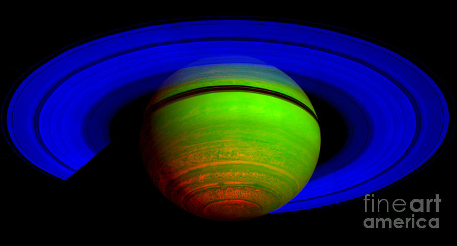 Saturn In Color Photograph
