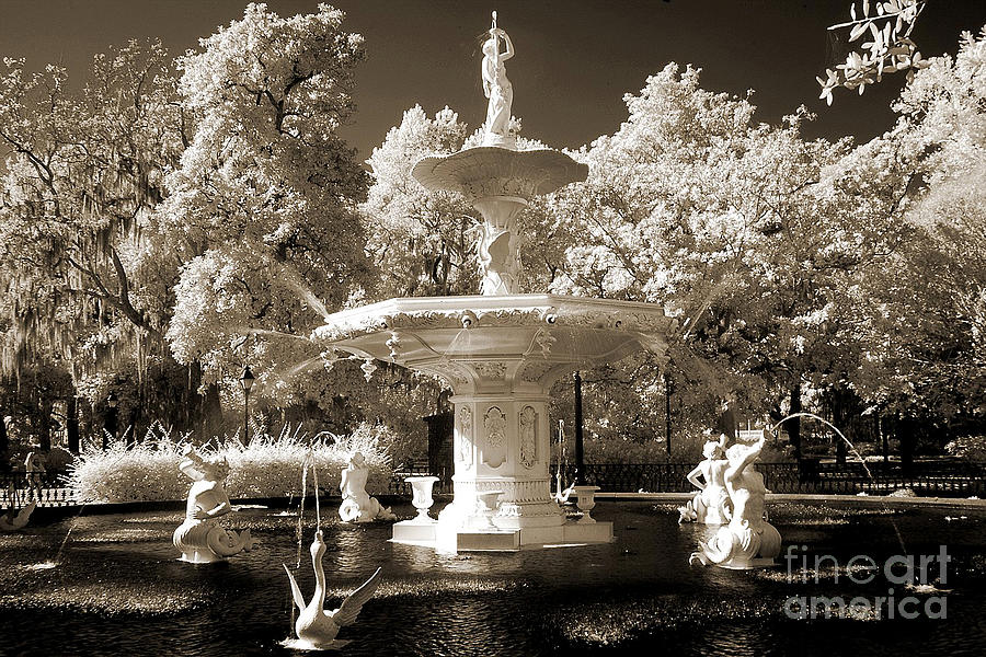 Savannah Georgia Fountain - Forsythe Fountain - Infrared Sepia  Photograph  - Savannah Georgia Fountain - Forsythe Fountain - Infrared Sepia  Fine Art Print