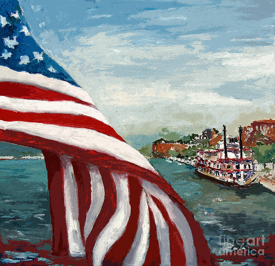 Flag Painting - Savannah River Queen by Ginette Callaway