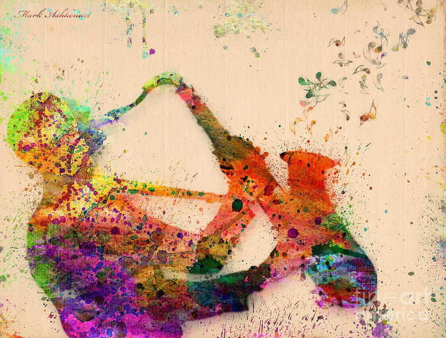 Saxophone Painting By Mark Ashkenazi