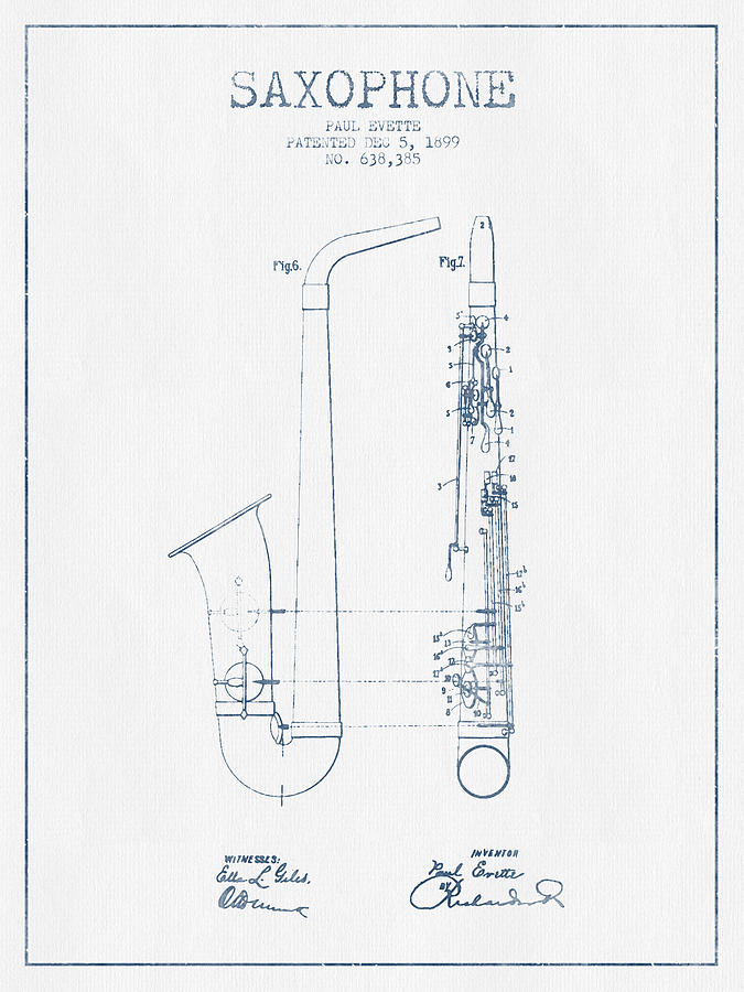 Saxophone Drawing - Saxophone Patent Drawing From 1899 - Blue Ink by Aged Pixel