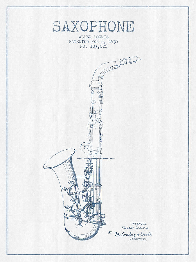 Saxophone Patent Drawing From 1937 - Blue Ink Drawing