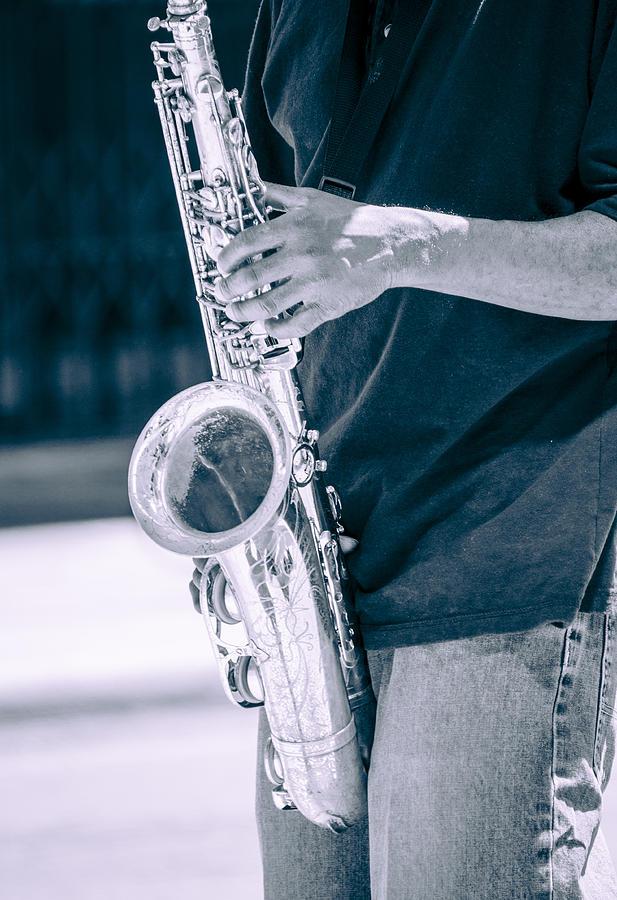 Saxophone Player On Street Photograph