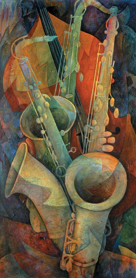 Susanne Clark Painting - Saxophones And Bass by Susanne Clark