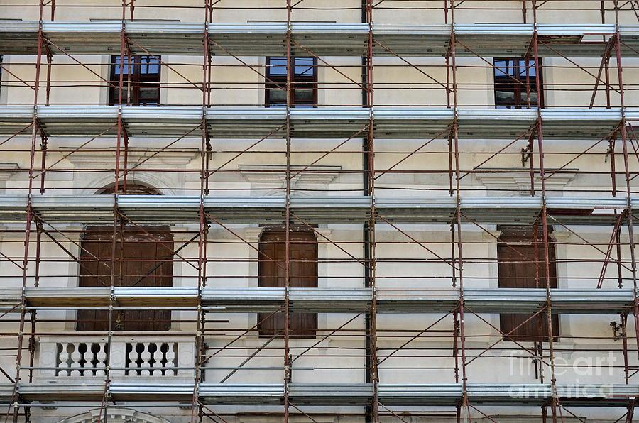 Scaffolding On Building Facade Photograph