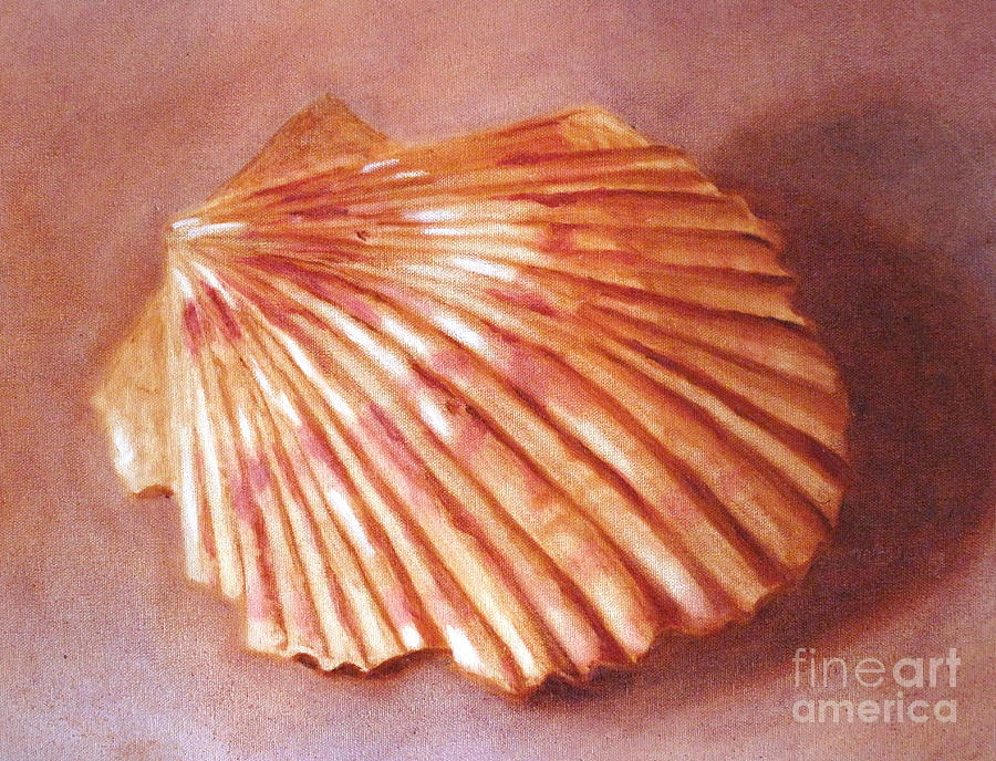 Scallop Shell Painting by Marilyn Healey