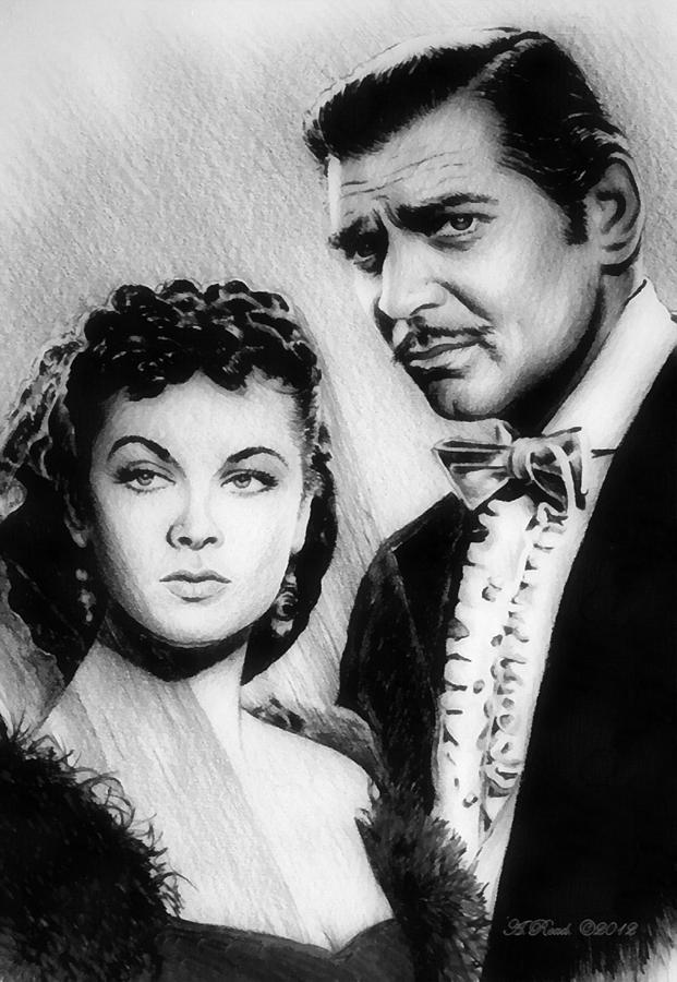 Scarlett And Rhett Drawing  - Scarlett And Rhett Fine Art Print