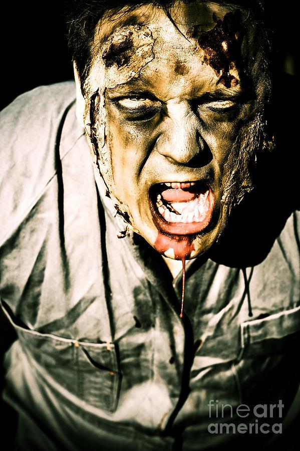 Scary Dark Horror Zombie Screaming Bloody Murder Photograph