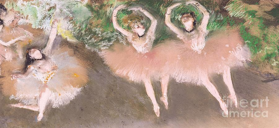 Scene; Ballet; Impressionist; Dance; Dancer; Dancers; Dancing; Ballerina; Ballerinas; Print; Printmaking; Green; Pink; Movement; Grace; Performance; Entertainment; Paris; Parisian; Belle Epoque; Tutu; Tutus; Female; En Pointe; Impressionistic Pastel - Scene De Ballet by Edgar Degas