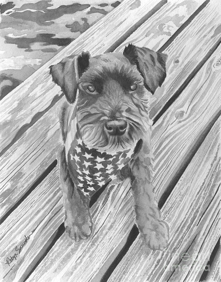 Schnauzer Black Dog Painting