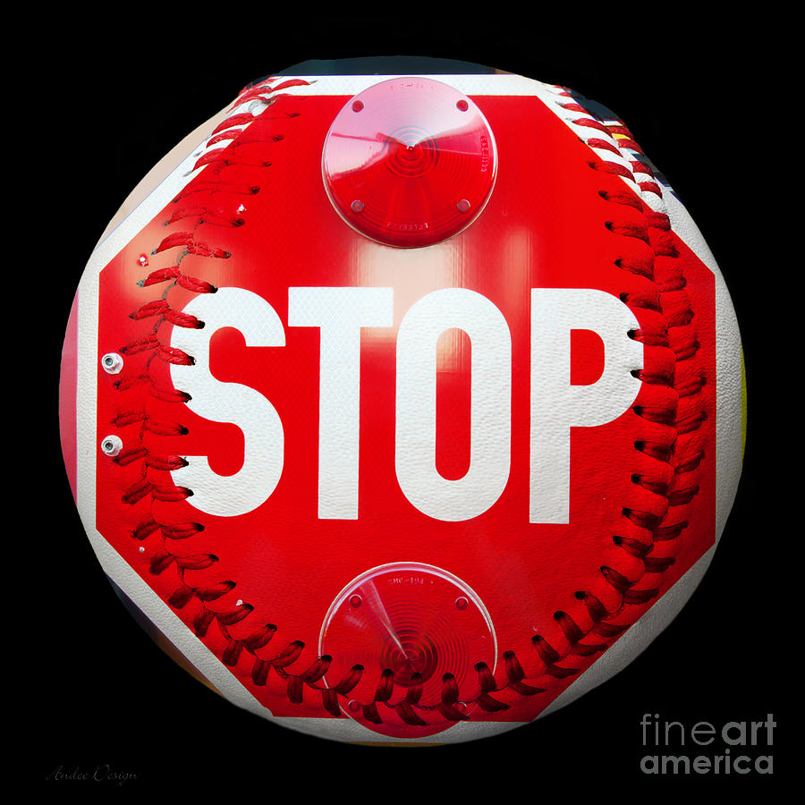 School Bus Stop Sign Baseball Square Photograph  - School Bus Stop Sign Baseball Square Fine Art Print