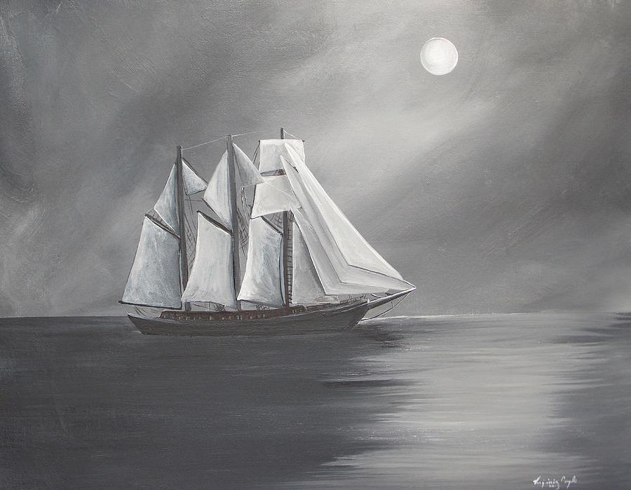 Schooner Moon Painting