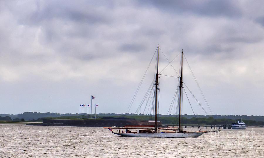 Schooner Sailing Past Fort Sumter Photograph