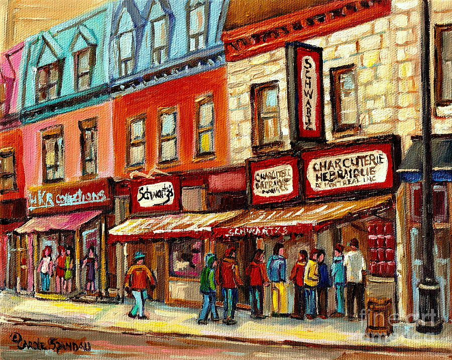 Schwartz The Musical Montreal Painting - Schwartz The Musical Painting By Carole Spandau Montreal Streetscene Artist by Carole Spandau