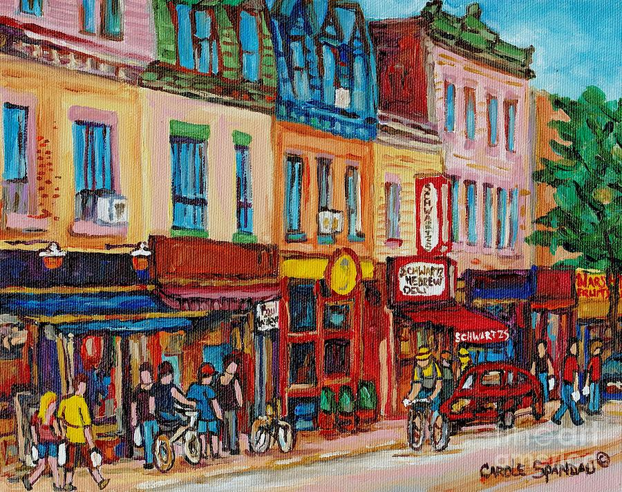 Schwartzs Deli And Warshaw Fruit Store Montreal Landmarks On St Lawrence Street  Painting