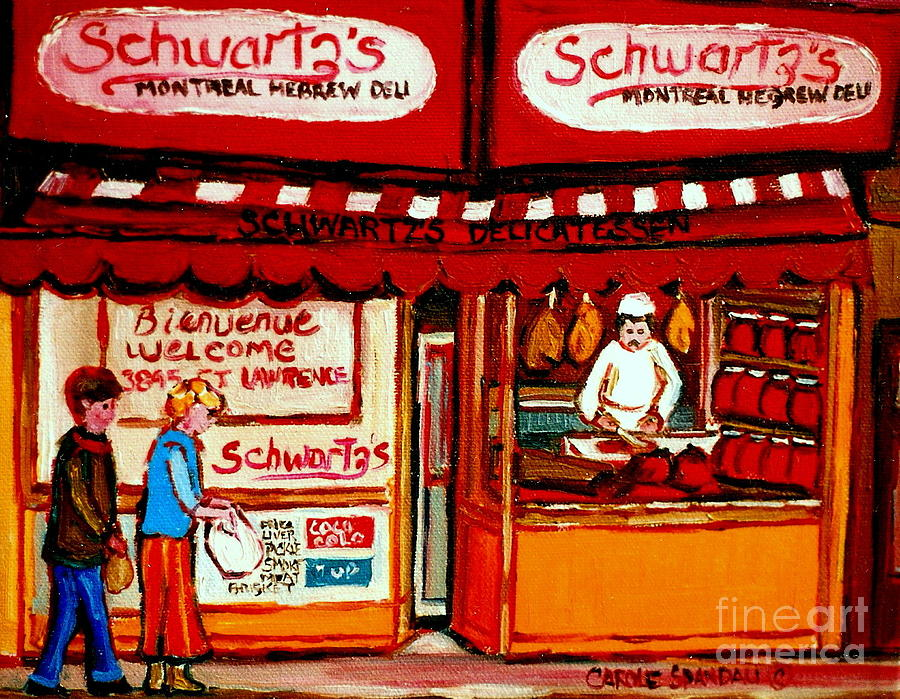 Montreal Painting - Schwartzs  Deli  Montreal Landmarks by Carole Spandau