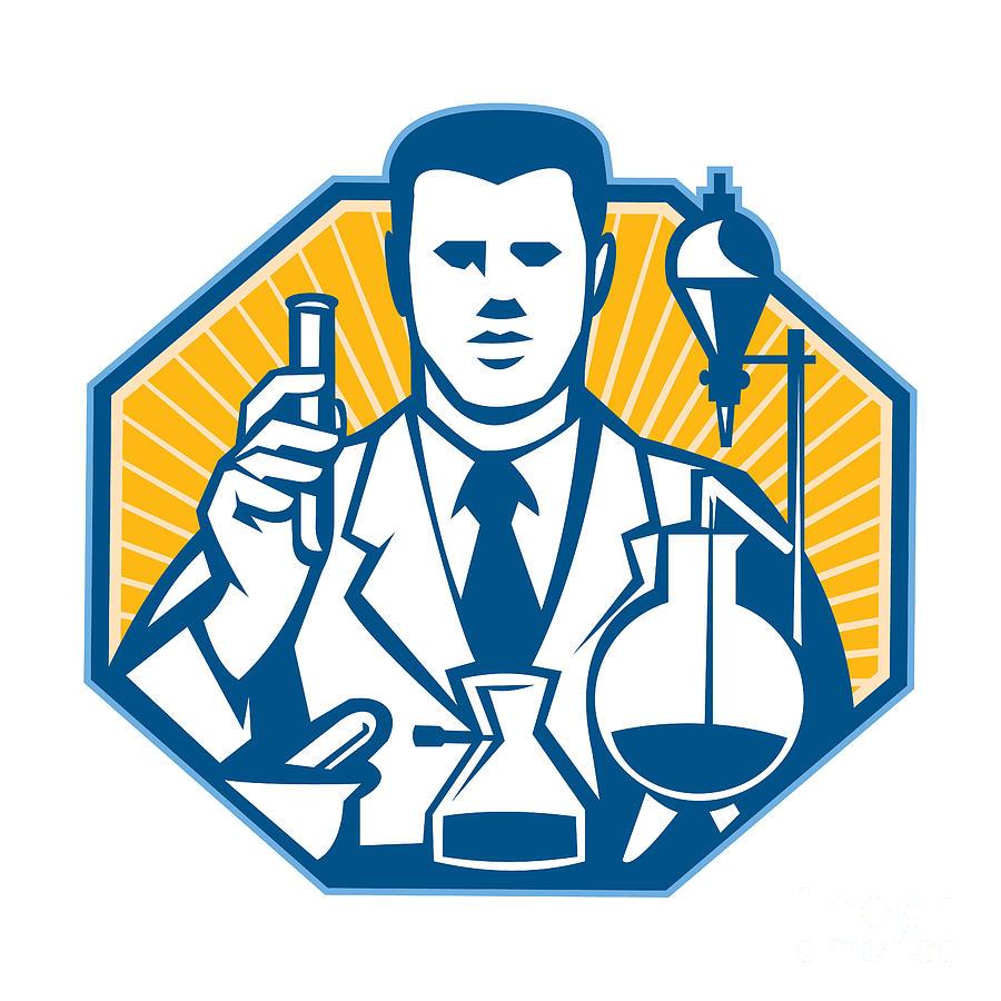 Scientist Lab Researcher Chemist Retro Digital Art