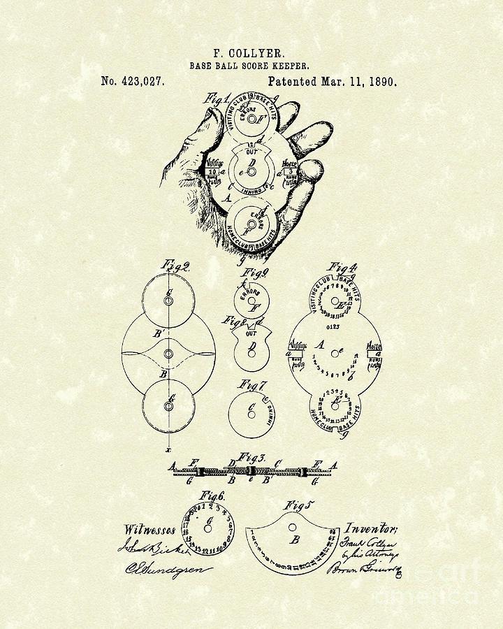 Score Keeper 1890 Patent Art Drawing