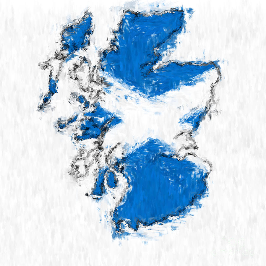 Scotland Photograph - Scotland Painted Flag Map by Antony McAulay