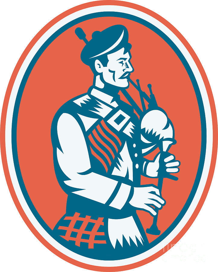 Scotsman Digital Art - Scotsman Scottish Bagpipes Retro by Aloysius Patrimonio