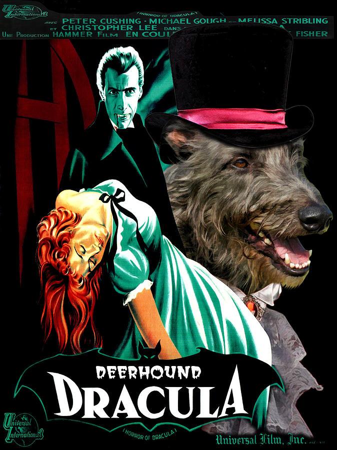 Scottish Deerhound Art - Dracula Movie Poster Painting