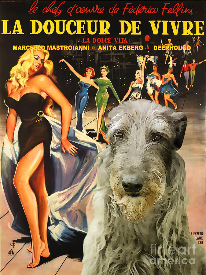 Scottish Deerhound Art - La Dolce Vita Movie Poster Painting