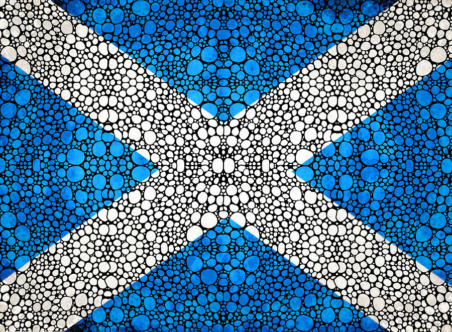 Scottish Flag - Stone Rockd Scotland Art By Sharon Cummings Painting  - Scottish Flag - Stone Rockd Scotland Art By Sharon Cummings Fine Art Print