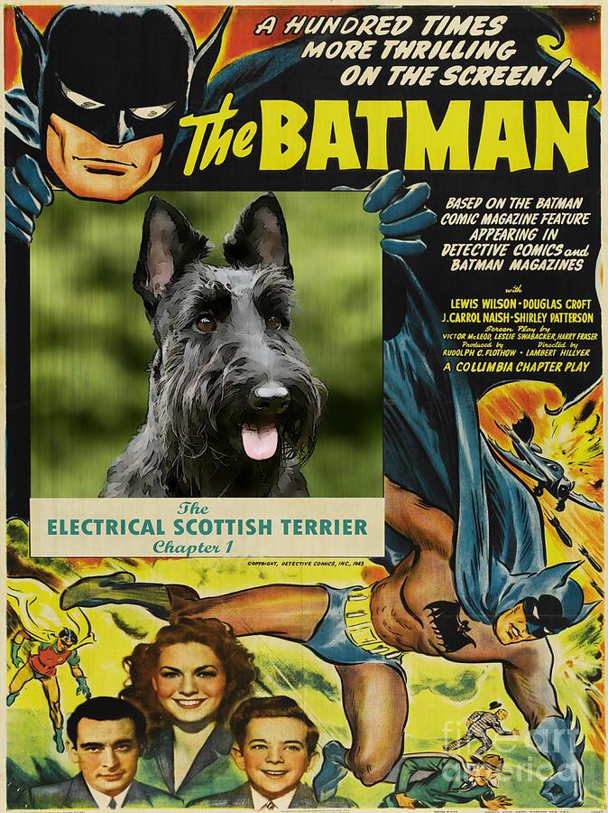 Scottish Terrier Art Canvas Print - Batman Movie Poster Painting