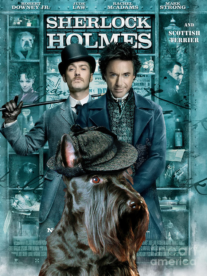 Scottish Terrier Art Canvas Print - Sherlock Holmes Movie Poster Painting