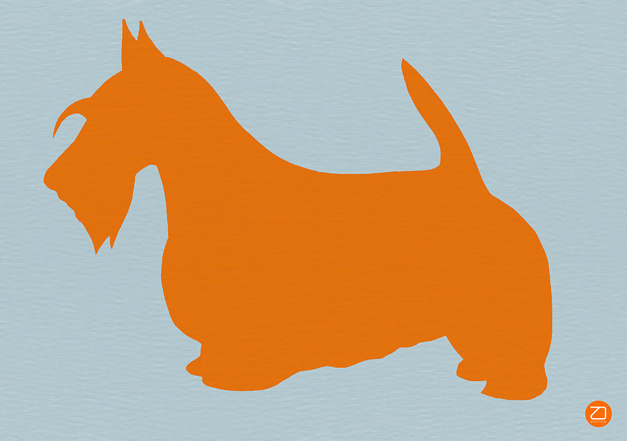 Scottish Terrier Orange Painting  - Scottish Terrier Orange Fine Art Print