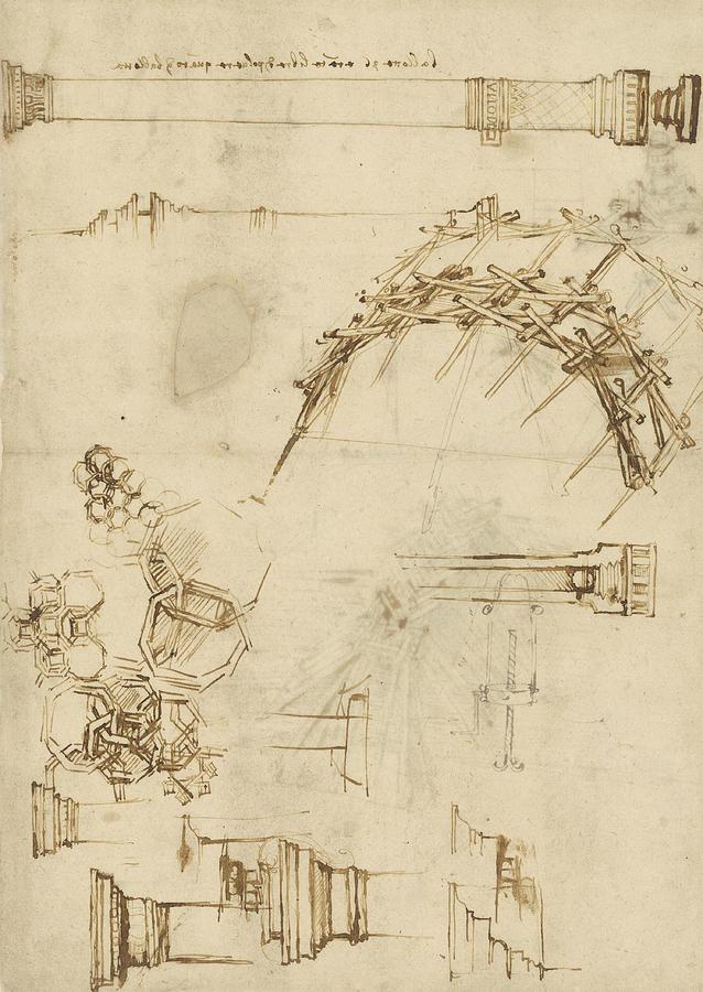 Screw Breech Bombard Decorative Geometrical Drawings Framework Of Self Supporting Military Bridge Drawing