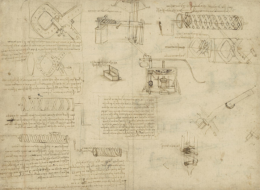 Leonardo Drawing - Screws And Lathe Assembling Press For Olives For Oil Production And Components Of Plumbing Machine  by Leonardo Da Vinci