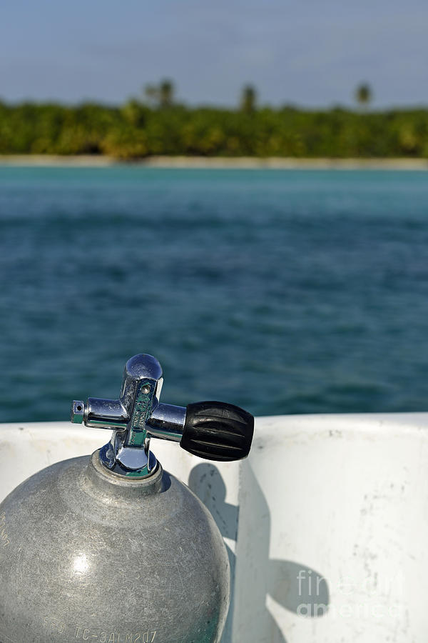 Scuba Diving Cylinder On Boat By Ocean Photograph  - Scuba Diving Cylinder On Boat By Ocean Fine Art Print