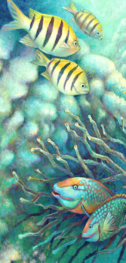 Under Water Painting - Sea Folk I - Sergeant Majors by Nancy Tilles