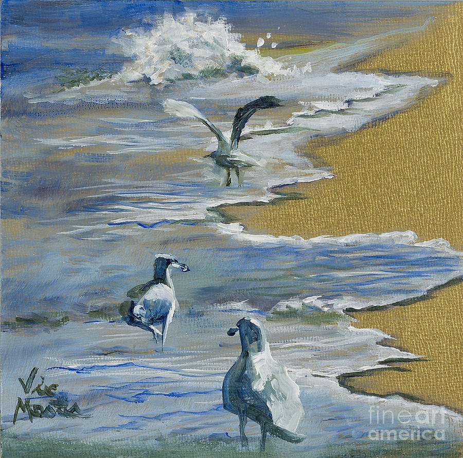 Sea Gulls With Gold Leaf By Vic Mastis Painting