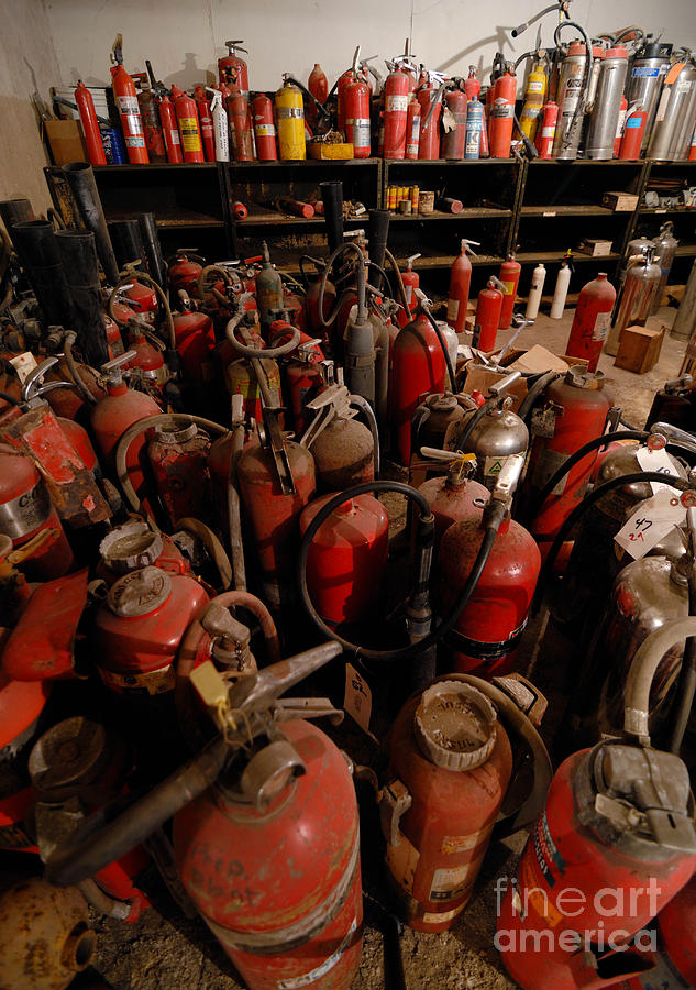 Sea Of Fire Extinguishers Photograph