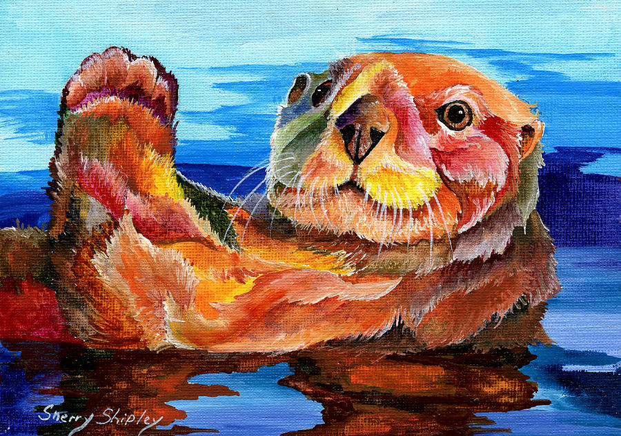 Sea Otter Painting By Sherry Shipley