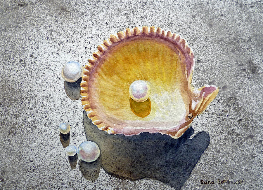 Sea Shell And Pearls Painting  - Sea Shell And Pearls Fine Art Print