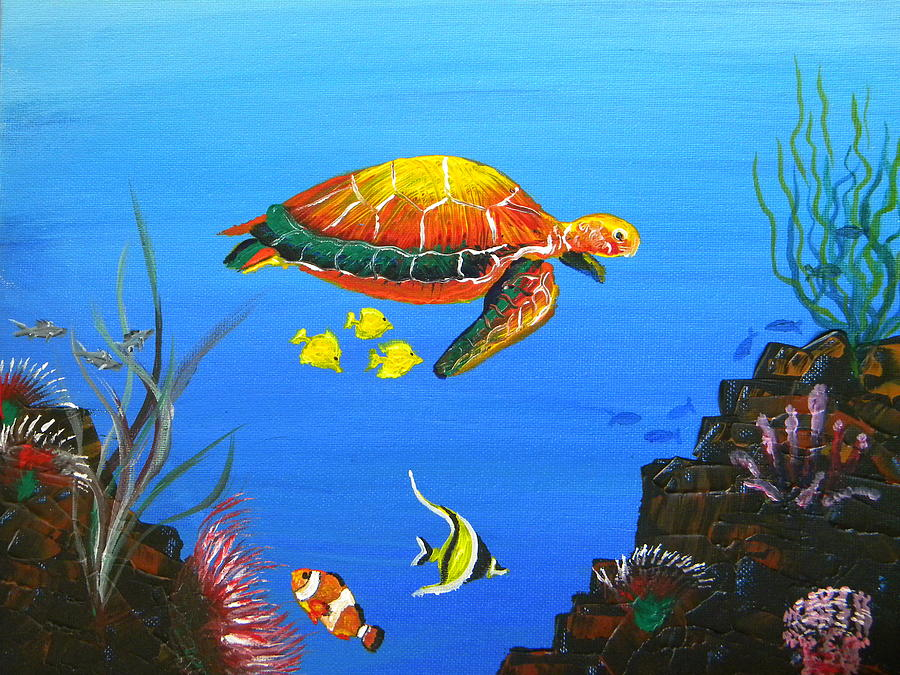 Sea turtle and topical fish painting by eric johansen for Turtle fish paint