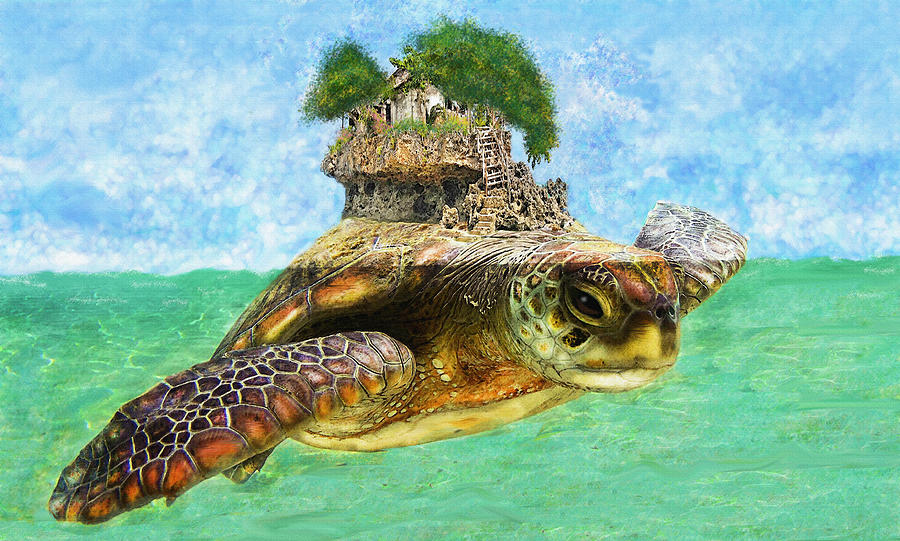 Sea Turtle Island Digital Art  - Sea Turtle Island Fine Art Print