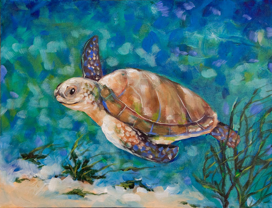 Sea Turtle Swimming Sea turtle swimming painting