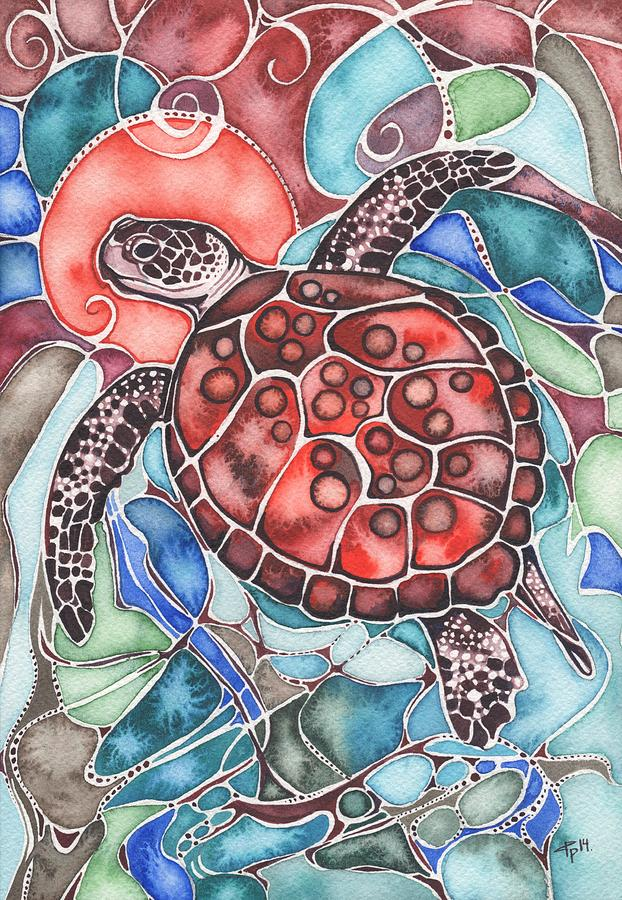 Sea Painting - Sea Turtle by Tamara Phillips