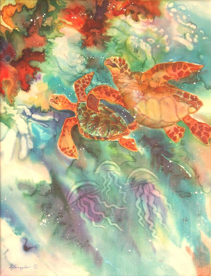 Turtles Painting - Sea Turtles by Deborah Younglao