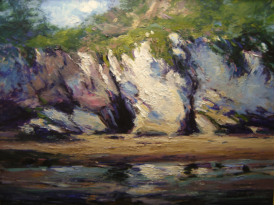 Seacaves At Pismo Beach Painting