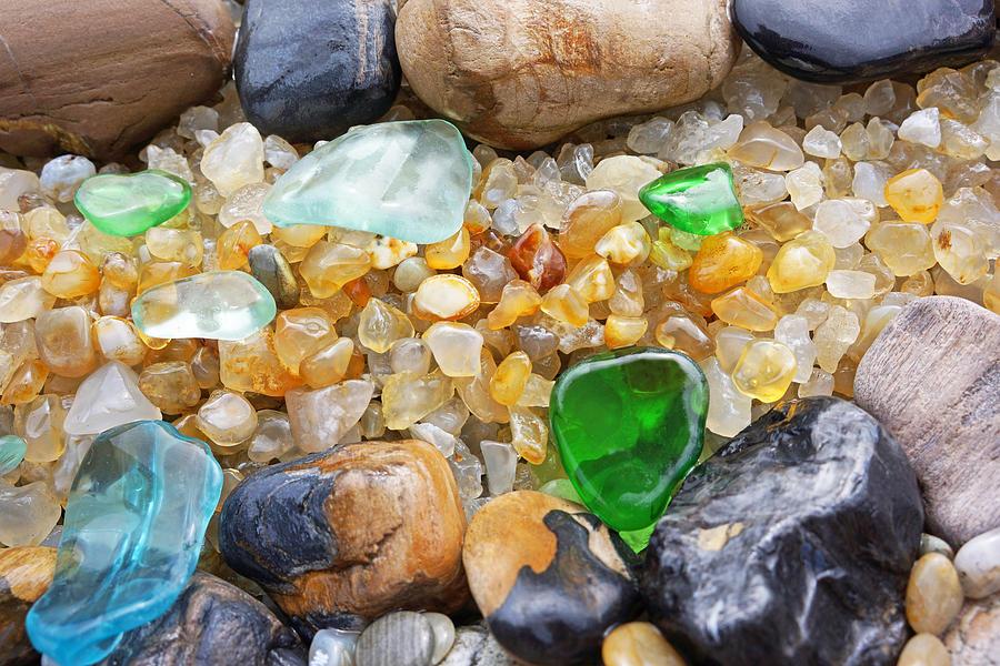 Decorative Photograph - Seaglass Art Prints Coastal Beach Sea Glass by Baslee Troutman