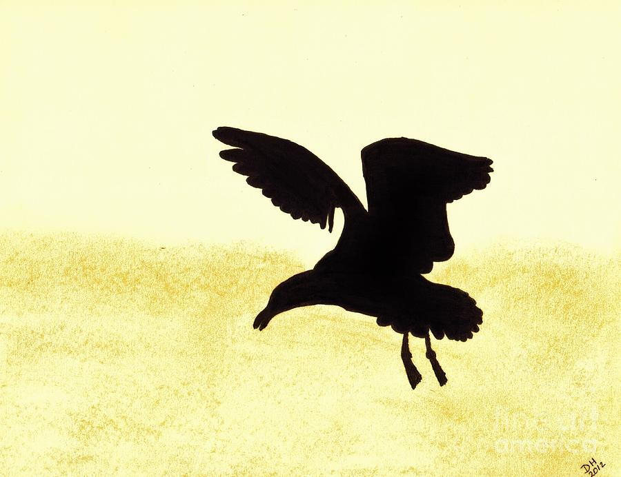 Seagull - Silhouette Drawing by D Hackett